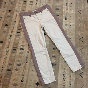 FREE PEOPLE crop straight cream jeans w/ stripe 31